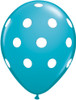 "11"" Big Polka Dots Tropical Teal Latex Balloons"