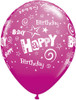 "11"" Birthday Stars and Swirls Wild Berry Latex Balloons"