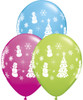 "11"" Festive WInter Scene Assortment Latex Balloons"