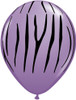 "11"" Jungle Zebra Spring Lilac Latex Balloons"
