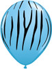 "11"" Jungle Zebra Pale Blue Latex Balloons"