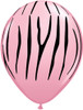 "11"" Jungle Zebra Pink Latex Balloons"