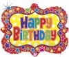 """30"""" Ornate Frame Birthday Shape Mylar Foil Balloon"""