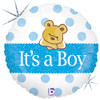 "18"" Baby Boy Bear  Mylar Foil Balloon"