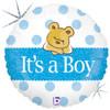 """18"""" Baby Boy Bear  Mylar Foil Balloon"""