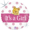 "18"" Baby Girl Bear  Mylar Foil Balloon"