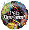 """18"""" Feliz Cumpleanos Cintas  Mylar Foil Balloon"""