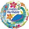 "18"" Birthday Peacock  Mylar Foil Balloon"