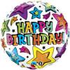 """18"""" Birthday Multiple Stars  Mylar Foil Balloon"""