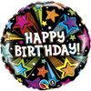 "18"" Birthday Colorful Shooting Stars  Mylar Foil Balloon"