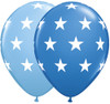 "11"" Big Stars Blue Assortment Latex Balloons"