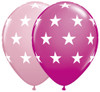 "11"" Big Stars Pink Assortment Latex Balloons"