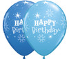 "11"" Birthday Sparkle Dark Blue & Robin's Egg Assortment Latex Balloons"