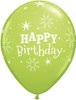 "11"" Birthday Sparkle Lime Latex Balloons"