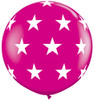 "36"" Big Stars Wild Berry Latex Balloons"