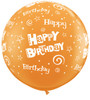 "36"" (3') Birthday Stars and Swirls - Orange Latex Balloon"
