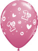 "11"" 1st Birthday Circle Girl  Latex Balloons"
