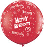 "36"" (3') Birthday Stars and Swirls - Red Latex Balloon"