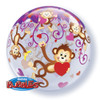 "22"" Bubble Love Monkeys Bubble Balloon"