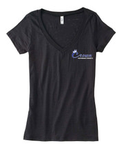 Women's short sleeve V neck Black