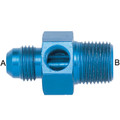 AN to Pipe Pressure Gauge Adapter - Aluminum Blue Anodized