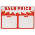 SALE PRICE WAS/NOW Adhesive Label