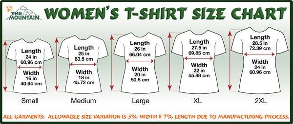 Mtn Retail Sizechart Womens T Shirts