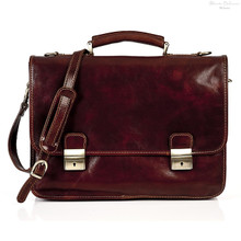 Firenze Double Compartment Italian Leather Briefcase | Front | Color Brown