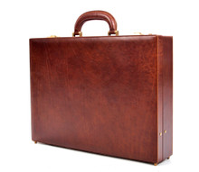 Front Lock of the Amalfi mens leather attache in Brown