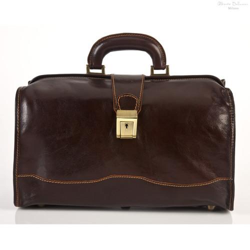 Alberto Bellucci Giotto Italian Leather Doctor Bag | Dark Brown