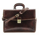 Vernio Single Gusset Briefcase | Color Brown | Comes with a detachable and adjustable shoulder strap