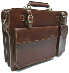 IAmalfi Double Compartment Top Zip - Dark Brown - Angle View