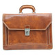Capri Triple Gusset Flap Over Briefcase | Front  | Color Honey