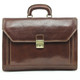 Capri Triple Compartment Flap Over Briefcase | Front | Color Brown