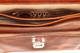 Capri Triple Gusset Flap Over Briefcase   Close Inside   Color Honey