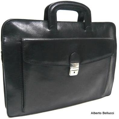 Italian Leather Briefcase - Black - Front View