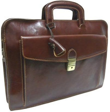 Italian Leather Briefcase - Brown - Front View