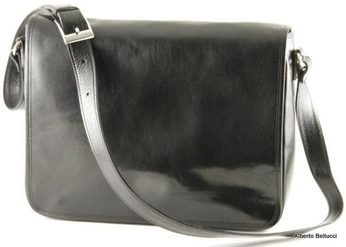 Italian Leather Messenger Bag - Black