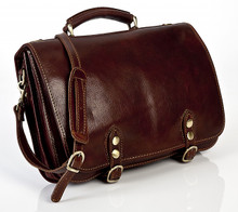 Comano Double Gusset Computer Messenger Bag |  Color Brown