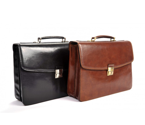 Handmade Italian Leather Briefcase | Black and Brown