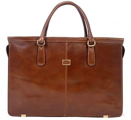 Handmade Italian Leather Double Gusset Bag | Cognac | Front