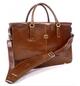 Handmade Italian Leather Double Gusset Bag | Cognac | Front 2