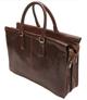 Handmade Italian Leather Double Gusset Bag | Brown | Back