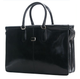 Handmade Italian Leather Double Gusset Bag | Black | Front
