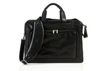 Tony Perotti Mens Italian Cow Leather Napoli Laptop Zip-Around Double Compartment Leather Briefcase