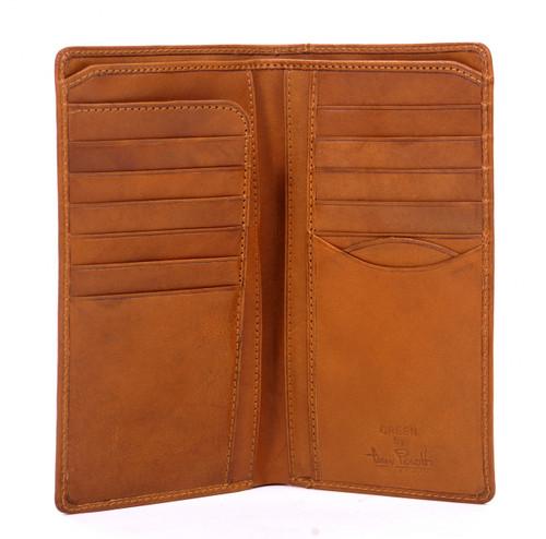 Handmade Italian Leather Wallet | Honey | Open