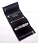 Handmade Italian Leather Jewelry Roll | Black | Open
