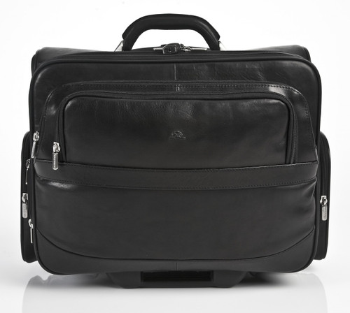 Leather Wheeled Briefcase | Black | 2 Front Zip Around Compartments