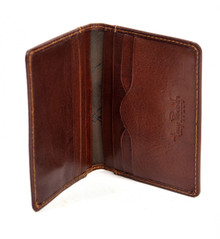 Handmade Italian Leather Wallet | Brown | Open