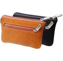 Tony Perotti Unisex Italian Cow Leather Zippered Key Case with Key Chain